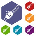Gasoline powered chainsaw icons set hexagon