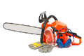 Gasoline powered chainsaw with protective accessories isolated on white background Stock Photos