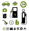 Gasoline station icons set Stock Photos
