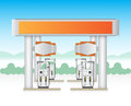 Gasstation illustration of gas station service with blue sky background Stock Images