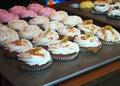 Gastronomische Cupcakes in Bakkerij Stock Afbeelding