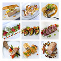 Gastronomy collage various dishes on a Stock Photography