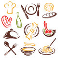 Gastronomy colorful cook and cooking vector set Royalty Free Stock Photos