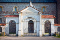 Gate of the collegiate church in tum stylish st mary and st alexius near leczyca poland xii xiv century romanesque style northern Royalty Free Stock Images