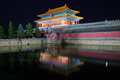 The gate of devine might in forbidden city night scene was built it remain intact through ming and qing Royalty Free Stock Photography
