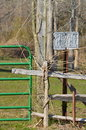 Gate fence and private property sign no trespassing Stock Photography