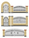 Gate, fences with bricks and metal lattice. Royalty Free Stock Photo