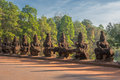 Gate guardians angkor cambodia ancient Stock Photo