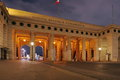 The gate into heldenplatz heroes square illuminated at night vienna austria Stock Image