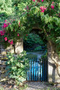 Gate overgrown with roses of garden in france Stock Image