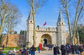 The gate of salutation istanbul turkey january decorated with two slender towers leads to second courtyard topkapi palace Stock Images