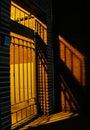 Gate and shadows at night Royalty Free Stock Photo