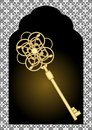 Gate silhouette with vintage gold key. Black and white victorian patterns on background Royalty Free Stock Photo