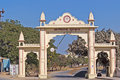 Gate of spiritual scool of aryan girls in porbandar january gujarat or arya kanya gurukula Royalty Free Stock Photos