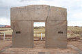 The gate of the sun tiwanaku bolivia famous landmark in kalasasaya temple pre columbian civilization Royalty Free Stock Photo