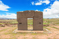 Gate of the sun tiwanaku ruins bolivia Royalty Free Stock Images
