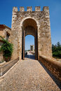 Gate to the bridge of Besalu Stock Images
