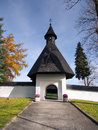 Gate to church in tvrdosin slovakia autumn view of main fortified leading complex of wooden of all saints kostol vsetkych svatych Stock Image