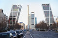 Gate to europe complex and urban road madrid march on march in madrid spain twin towers were built by american architects philip Royalty Free Stock Photo