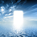 Gate to paradise, way on water towards light, new world, God. Royalty Free Stock Photo
