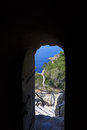 Gate of torre des verger in majorca view through the Stock Photo