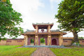 Gate with watchtower in citadel imperial city of hue the unesco world heritage site Royalty Free Stock Photography