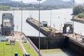 Gates and basin of Miraflores Locks Panama Canal Royalty Free Stock Photo