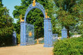 Gates with golden deer Royalty Free Stock Photo