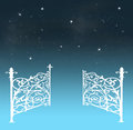 Gates of heaven opening to a beautiful nightly sky with stars Stock Images