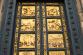 Gates of paradise with bible stories on door of duomo baptistry in florence italy Stock Images