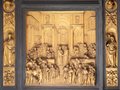 Gates of Paradise, Queen of Sheba and King Solomon, Baptistry of Florence Cathedral Royalty Free Stock Photo