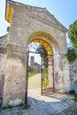 Gates to a cathedral in an old part of  Monselice Royalty Free Stock Photo