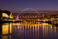 Gateshead and Newcastle at Sunset Royalty Free Stock Photo