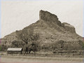 Gateway chimney rock colorado from the highway cowboys still blow up dynamite here Stock Image