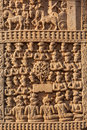 Gateway decoration great stupa india bas relief of ancient buddhist monument sanchi madhya pradesh Royalty Free Stock Image