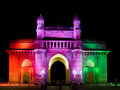 Gateway of india lit up with colours flag Stock Photo