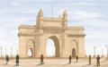 Gateway of india painting style illustration Royalty Free Stock Photography