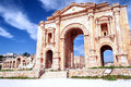 Gateway to the roman ruins of jerash on a sunny day Royalty Free Stock Photos