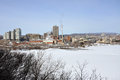 Gatineau skyline in winter photo taken from ottawa parliament hill ottawa ontario canada Royalty Free Stock Photography