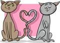 Gatos na ilustração dos desenhos animados do amor Fotos de Stock Royalty Free