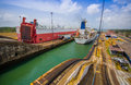 Gatun Locks, Panama Canal. This is the first set Royalty Free Stock Photo