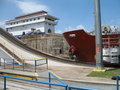 Gatun Locks with a ship Royalty Free Stock Photos