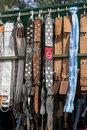 Gaucho belts several and horseriding accessories for sale at a fair in rosario city argentina Stock Images