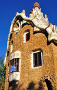 Gaudi architecture building by at the entrance to park guell barcelona Stock Photos