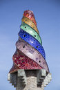 Gaudi chimney barcelona spain september palau guell broken tile mosacis and strange decorated chimneys are evident in his Royalty Free Stock Photo