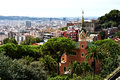 Gaudi house the where antoni lived in park guell and view over in barcelona spain Royalty Free Stock Photo