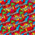 Gaudi mosaic pattern and word Barcelona. Royalty Free Stock Photo