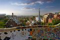 Gaudi parc guell barcelona landmark spain architecture designed by antonio in park Stock Image