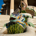 Gaudi parc guell the salamander statue in the in barcelona spain Stock Images