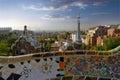 Gaudi parc guell señal de barcelona españa Imagen de archivo